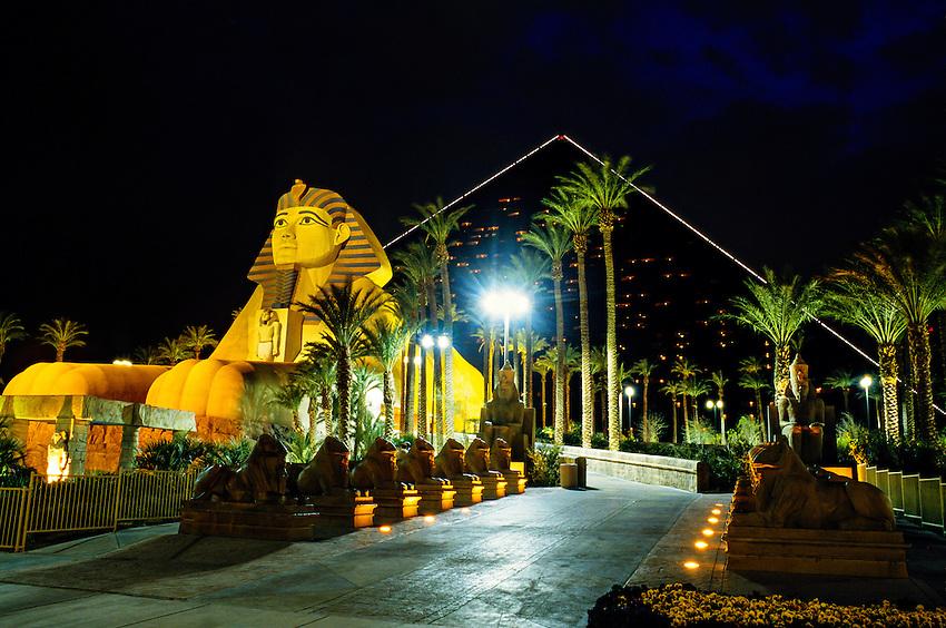 Exterior of Luxor Hotel and Casino at night, Las Vegas, Nevada USA