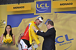 Swiss National Champion Fabian Cancellara (SUI) Team Saxo Bank being presented with the first Yellow Jersey by Prince Albert of Monaco after he wins the Prologue Stage 1 of the 2009 Tour de France a 15.5km individual time trial held around Monaco. 4th July 2009 (Photo by Eoin Clarke/NEWSFILE)
