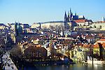 Charles Bridge spanning the River Vltava view to the castle, Praque, Czech Republic