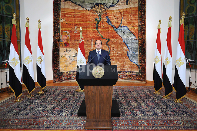 Egyptian President Abdel Fattah al-Sisi delivers a speech to marking the fifth anniversary of 30th Revolution of June in Cairo, Egypt on June 30, 2018. Photo by Egyptian President Office