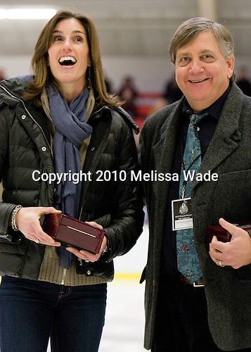 Jen Buckley (BC), Joe Bertagna - The Harvard University Crimson defeated the Boston College Eagles 5-0 in their Beanpot semi-final game on Tuesday, February 2, 2010 at the Bright Hockey Center in Cambridge, Massachusetts.