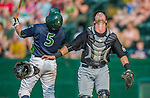 12 July 2015: West Virginia Black Bears catcher Daniel Arribas in action against the Vermont Lake Monsters at Centennial Field in Burlington, Vermont. The Lake Monsters rallied to defeat the Black Bears 5-4 in NY Penn League action. Mandatory Credit: Ed Wolfstein Photo *** RAW Image File Available ****