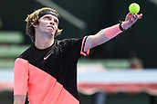 11th January 2018,  Kooyong Lawn Tennis Club, Kooyong, Melbourne, Australia; Priceline Pharmacy Kooyong Classic tennis tournament; Andrey Rublev of Russia throws the ball up to serve to Lucas Pouille of France