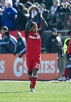 26 March 2011: Toronto FC forward Javier Martina #33 celebrates his second goal during an MLS game between the Portland Timbers and the Toronto FC at BMO Field in Toronto, Ontario Canada..Toronto FC won 2-0....