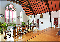 BNPS.co.uk (01202 558833)<br /> Pic: KnightFrank/BNPS<br /> <br /> Stunning transformation of a former chapel near Hampton Court in London.<br /> <br /> A former derelict chapel has been transformed into a heavenly home - and is now on the market with a guide price of &pound;1.8m.<br /> <br /> When Keith Holmes, 73, bought the property in 1997 it was a complete wreck with missing tiles, woodworm and smashed stained glass windows. <br /> <br /> He had to completely gut the building before he could turn it into a stunning house and his labour of love took 16 years and about &pound;800,000.<br /> <br /> Mr Holmes, an art restorer and painter, only finished his epic renovation about four years ago but has decided to sell so he can start a new project.<br /> <br /> This property is now on the market with Knight Frank.