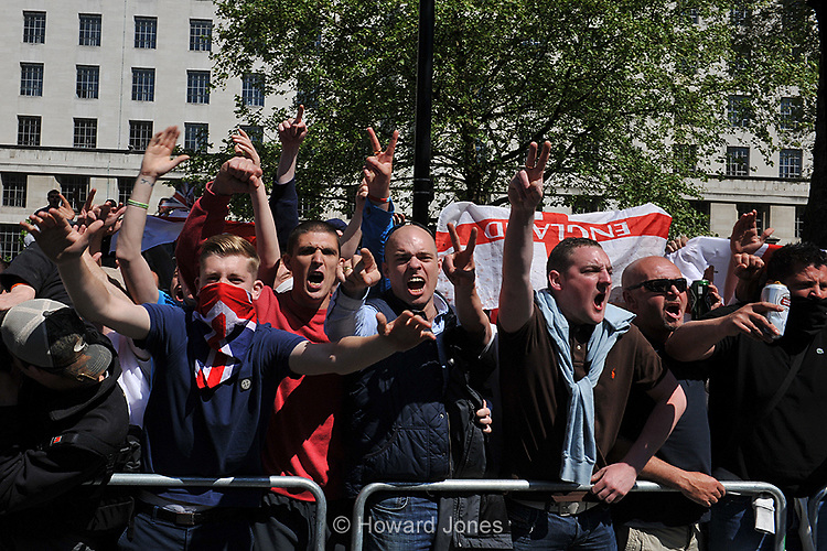 Far right English Defence League supporters gather outside Downing Street blaming Islam for the death of drummer Lee Rigby. London 27th May 2013