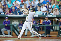 Vanderbilt Commodores third baseman Will Toffey (10) swings the bat against the TCU Horned Frogs in Game 12 of the NCAA College World Series on June 19, 2015 at TD Ameritrade Park in Omaha, Nebraska. The Commodores defeated TCU 7-1. (Andrew Woolley/Four Seam Images)