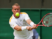 26-06-13, England, London,  AELTC, Wimbledon, Tennis, Wimbledon 2013, Day three, Lleyton Hewitt (AUS)<br /> <br /> <br /> <br /> Photo: Henk Koster