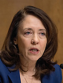 "United States Senator Maria Cantwell (Democrat of Washington) questions Robert Lighthizer, US Trade Representative, as he testifies before the US Senate Committee on Finance on ""The President's 2018 Trade Policy Agenda"" on Capitol Hill in Washington, DC on Thursday, March 22, 2018.<br /> Credit: Ron Sachs / CNP"