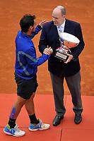 Fabio Fognini con il trofeo , Il Principe Alberto di Monaco <br /> Monaco 21/04/2019 Monte Carlo Country Club Panoramica <br /> Tennis Torneo ATP Montecarlo 2019 <br /> Foto Norbert Scanella / Panoramic / Insidefoto <br /> ITALY ONLY