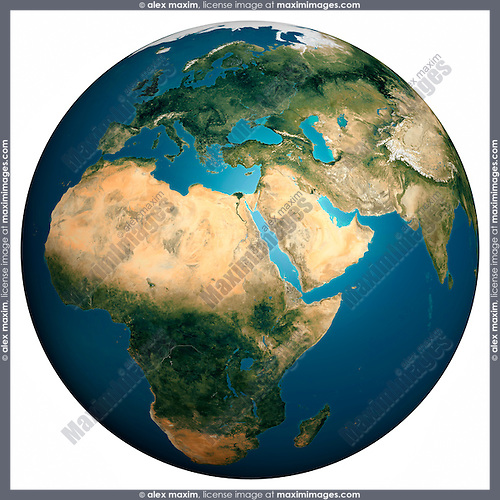 Earth globe view from space African Indian and European continents Isolated silhouette on white background