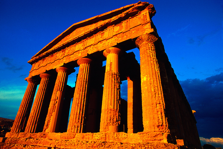Columns of the Temple of Concord at the Valley of the Temples archaeological site in Agrigento, Sicily, Italy