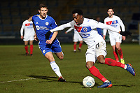 Fejiri Okenabirhie of Dagenham  and Matty Brown of Halifax Town during FC Halifax Town vs Dagenham & Redbridge, Vanarama National League Football at The Shay on 13th March 2018