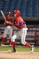 Dante Ricciardi (4) of Worcester Academy in West Boylston, Massachusetts playing for the Philadelphia Phillies scout team during the East Coast Pro Showcase on July 31, 2014 at NBT Bank Stadium in Syracuse, New York.  (Mike Janes/Four Seam Images)