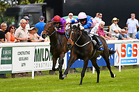 Winner of The Bathwick Tyres Novice Auction Stakes(plus 10, Div 2), Simply Breathless ridden by Sam Hitchcott and trained by Clive Cox  during Afternoon Racing at Salisbury Racecourse on 13th June 2017