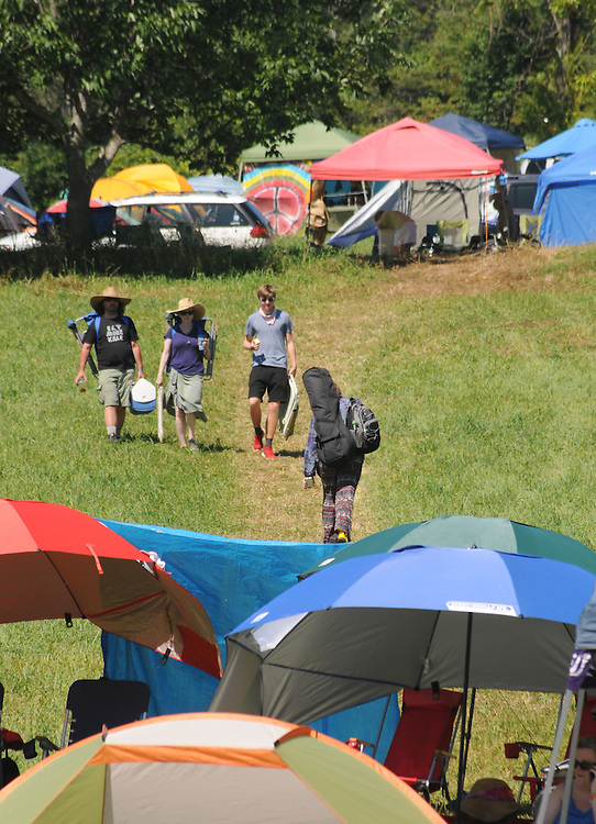 Early morning scene at the  Main Stage of the Falcon Ridge Folk Festival, held on Dodd's Farm in Hillsdale, NY on Sunday, August 2, 2015. Photo by Jim Peppler. Copyright Jim Peppler 2015.