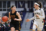 SIOUX FALLS, SD: MARCH 10:  Brynn Flakus #23 of Northern State drives as Hana Metoxen #31 of Augustana defends during the 2018 NCAA Division II Women's Basketball Central Region Tournament at the Elmen Center in Sioux Falls, S.D.    (Photo by Dick Carlson/Inertia)