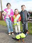 Anna May and Tadhg Smith, Milly Ann Dowd with Daisy and Coady who took part in the Green Dog Walk as part of the Duleek Revival programme. Photo:Colin Bell/pressphotos.ie