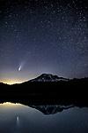 USA, Washington, Mount Rainier National Park, the comet Neowise shoots over Mount Rainier July 2020