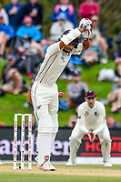 Jeet Raval of the Black Caps leaves a ball during Day 4 of the Second International Cricket Test match, New Zealand V England, Hagley Oval, Christchurch, New Zealand, 2nd April 2018.Copyright photo: John Davidson / www.photosport.nz