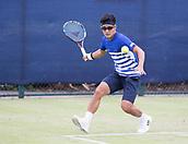 June 13th 2017, Nottingham, England; ATP Aegon Nottingham Open Tennis Tournament day 4;  Forehand from Hiroki Moriya of Japan who lost to John Millman of Australia
