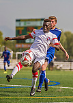5 September 2014: St. Francis College Terrier Forward/Midfielder John Makaya, a Junior from Madrid, Spain, in action against the University of Massachusetts River Hawks, at Virtue Field in Burlington, Vermont. The River Hawks defeated the Terriers 3-1, on the first day of the Morgan Stanley Smith Barney Windjammer Classic Men's Soccer Tournament. Mandatory Credit: Ed Wolfstein Photo *** RAW (NEF) Image File Available ***