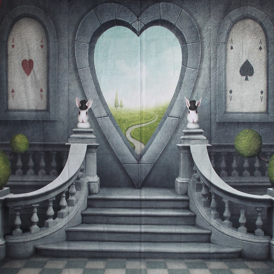 Backdrop featuring stairs up to a fantasy heart - shaped doorway from Alice in Wonderland. Playing card and rabbit motifs