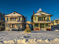 Snow surrounds homes Friday, January 05, 2018 in Cape May, New Jersey. (Photo by William Thomas Cain/Cain Images)