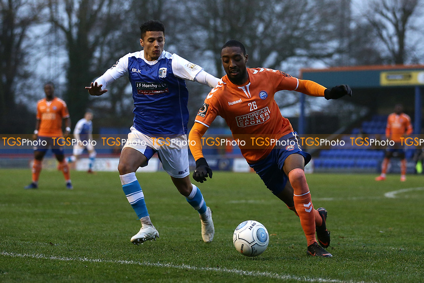 Ricky Gabriel of Braintree and Tyler Smith of Barrow during Braintree Town vs Barrow, Vanarama National League Football at the IronmongeryDirect Stadium on 1st December 2018