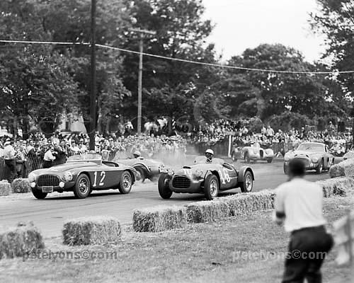 First turn, Bridgehampton, NY, street circuit, May 24, 1952. Ferrari 12 (Charles Moran) and 16 (Briggs Cunningham) lead as Frazer Nash 9 (Harry Gray) spins to inside. Behind are Ferrari 19 (Bob Yung) and Jaguar 14 (Charlie Wallace). [INFO per Michael Lynch]