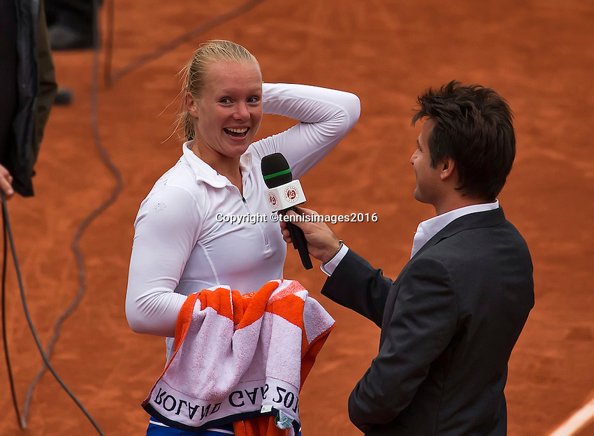 Paris, France, 01 June, 2016, Tennis, Roland Garros, Womans quarter final Kiki Bertens (NED) celebrates her victory over e Timea Bacsinszky (SUI)<br /> Photo: Henk Koster/tennisimages.com
