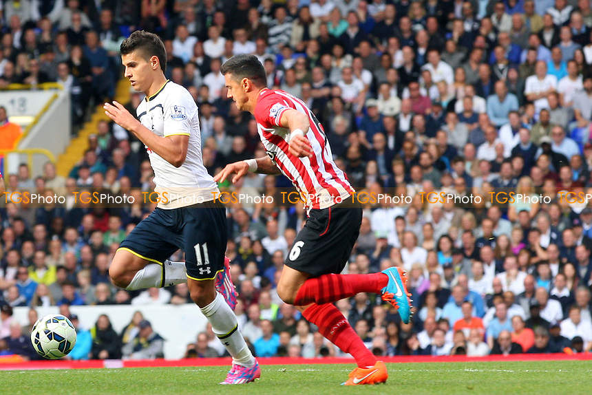Erik Lamela of Tottenham Hotspur and Jose Fonte of Southampton - Tottenham Hotspur vs Southampton - Barclays Premier League action at the White Hart Lane Stadium on 05/10/2014 - MANDATORY CREDIT: Dave Simpson/TGSPHOTO - Self billing applies where appropriate - 0845 094 6026 - contact@tgsphoto.co.uk - NO UNPAID USE
