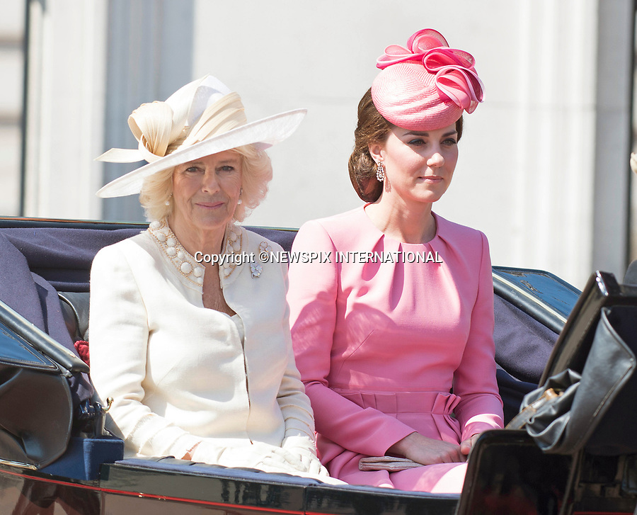 17.06.2017; London, UK: TROOPING THE COLOUR 2017 - CAMILLA AND KATE MIDDLETON<br /> joined other members of the royal family for the Trooping The Colour to celebrate the Queen&rsquo;s 91st Official Birthday<br /> Royals present included the Duke of Edinburgh, Prince Charles and Camilla, Duchess of Cornwall, Prince William, Kate Middleton, Prince George; Princess Charlotte; Prince Harry, Prince Andrew; Princess Beatrice, Princess Eugenie, Prince Edward, Princess Anne, Zara Phillips &amp; Mike Tindal, Prince and Princess Michael Of Kent, Lady Helen Taylor, Duke of Kent, Duke of Gloucester and Duchess of Gloucester,Peter Phillips and Autumn and Lady Amelia Windsor.<br /> Mandatory Credit Photo: &copy;Francis Dias/NEWSPIX INTERNATIONAL<br /> <br /> IMMEDIATE CONFIRMATION OF USAGE REQUIRED:<br /> Newspix International, 31 Chinnery Hill, Bishop's Stortford, ENGLAND CM23 3PS<br /> Tel:+441279 324672  ; Fax: +441279656877<br /> Mobile:  07775681153<br /> e-mail: info@newspixinternational.co.uk<br /> Usage Implies Acceptance of OUr Terms &amp; Conditions<br /> Please refer to usage terms. All Fees Payable To Newspix International