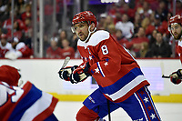WASHINGTON, DC - APRIL 06: Washington Capitals left wing Alex Ovechkin (8) skates up ice during the New York Islanders vs. the Washington Capitals NHL game April 6, 2019 at Capital One Arena in Washington, D.C.. (Photo by Randy Litzinger/Icon Sportswire)
