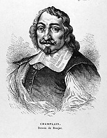 "FILE IMAGE - Samuel Champlain ( 1574 - 1635) The Father of New France"", was a French navigator, cartographer, draughtsman, soldier, explorer, geographer, ethnologist, diplomat, and chronicler.<br /> <br /> Drawing by Ronjat"