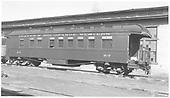 Business car B-7 at Alamosa, CO.  Originally baggage car #17 and then business car R.<br /> D&amp;RGW  Alamosa, CO  Taken by Richardson, Robert W. - 9/29/1949