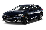 2018 Buick Regal TourX Essence AWD 5 Door Wagon angular front stock photos of front three quarter view