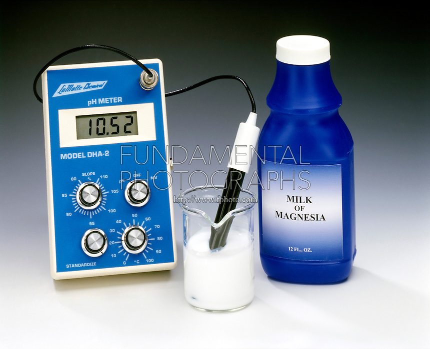 pH METER - Milk of Magnesia, Mg(OH)2<br /> (3 of 3)<br /> A digital pH meter is used to measure hydrogen-ion concentrations.  The pH of milk of magnesia, an aqueous suspension of magnesium hydroxide, is 10.52.