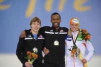 SCHAATSEN: SALT LAKE CITY: Utah Olympic Oval, 15-11-2013, Essent ISU World Cup, podium 1500m Brian Hansen (USA), Shani Davis (USA), Koen Verweij (NED), ©foto Martin de Jong