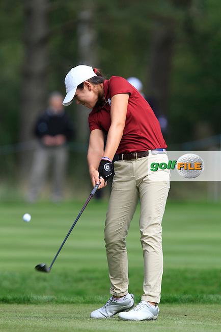 Hannah O'Sullivan (USA) on the 5th tee of the Mixed Fourballs, puts to go two up during the 2014 JUNIOR RYDER CUP at the Blairgowrie Golf Club, Perthshire, Scotland. <br /> Picture:  Thos Caffrey / www.golffile.ie