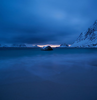 Winter night arrives at Haukland Beach, Vestvågøy, Lofoten Islands, Norway