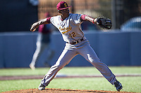 Central Michigan Chippewas pitcher Dazon Cole (42) delivers a pitch to the plate against the Michigan Wolverines on March 29, 2016 at Ray Fisher Stadium in Ann Arbor, Michigan. Michigan defeated Central Michigan 9-7. (Andrew Woolley/Four Seam Images)