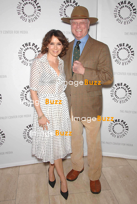 Jennifer Grey and Larry Hagman attend a tribute at the Paley Center for Media..Los Angeles, January 18, 2011.