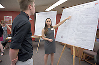 """Collrane Frivold '15 presents on, """"Studies on the enantioselective synthesis of DAB-1."""" After researching all summer, Occidental College students present their work at the annual Summer Undergraduate Research Conference on July 29, 2015.<br /> (Photo by Marc Campos, Occidental College Photographer)"""