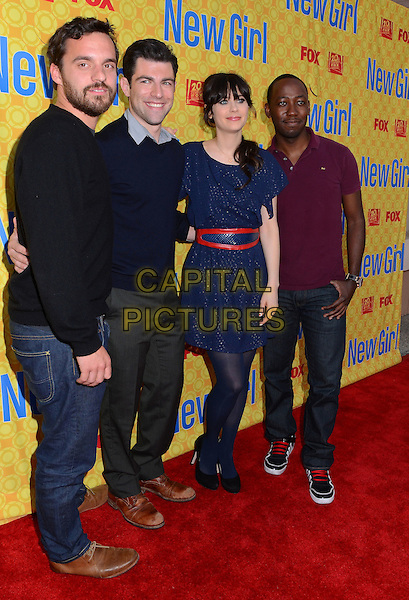Jake Johnson, Max Greenfield, Zooey Deschanel & Lamorne Morris.'New Girl' cast at screening and Q&A at Leonard H. Goldenson Theatre, North Hollywood, California, USA..7th May 2012.full length black beard facial hair sweater jumper top  blue dress jeans denim purple top.CAP/ADM/BT.©Birdie Thompson/AdMedia/Capital Pictures.