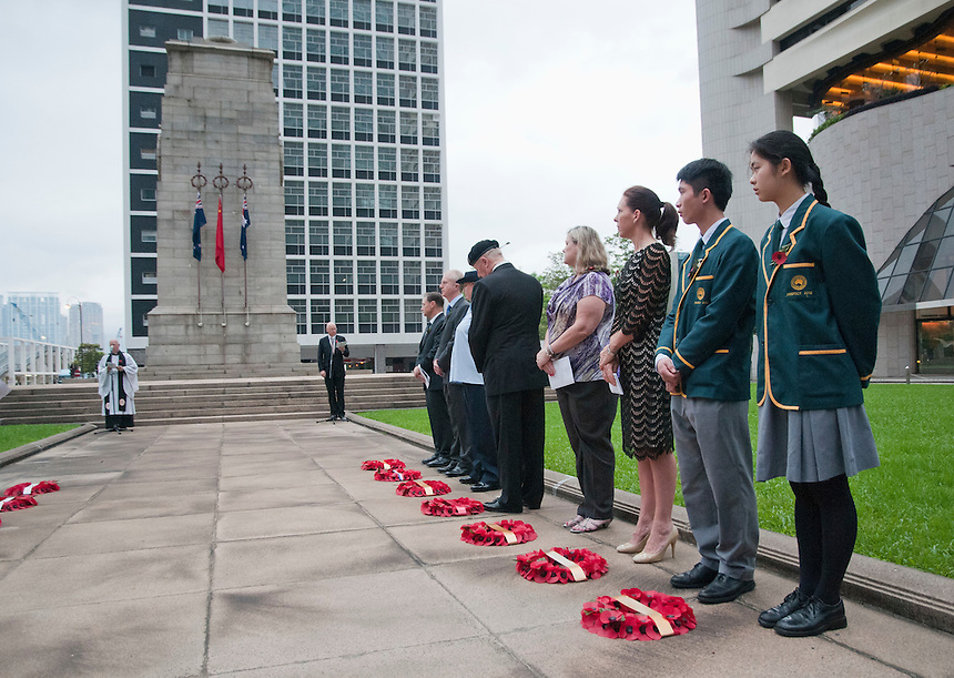 ANZAC Day service at the cenotaph Central Hong Kong.© Jayne Russell 25.04.12.ANZAC Day ceremony Hong Kong Cenotph..97th Anniversary 1915-2012.25th April 2012.© Jayne Russell.