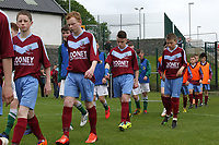 Aaron Connolly (At age 14) of Mervue United, yellow boots, gathers his thoughts ahead of the 2014 Goodson Cup Final.<br /> <br /> 18/5/14, Mervue United v St. Francis, U14 SFAI Goodson Cup Final, Jackson Park, Dublin.