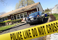 Police blocks the scene after a 26 year old woman was shot Sunday, April 10, 2016 in Bensalem, Pennsylvania.  (Photo by William Thomas Cain)