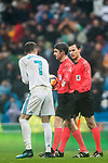 Cristiano Ronaldo (L) of Real Madrid reacts and speaks to the referee Alberto Undiano Mallenco (C) during the La Liga 2017-18 match between Real Madrid and Villarreal CF at Santiago Bernabeu Stadium on January 13 2018 in Madrid, Spain. Photo by Diego Gonzalez / Power Sport Images