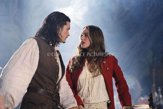 ORLANDO BLOOM and KEIRA KNIGHTLEY on the set of 'Pirates of the Caribbean: The Curse of the Black Pearl.' Ref: TVSL0001. No reproduction rights granted or implied. All rights reserved by copyright holders. Supplied by NY Photo Press.   ....NY Photo Press:  ..phone (646) 267-6913;   ..e-mail: info@nyphotopress.com